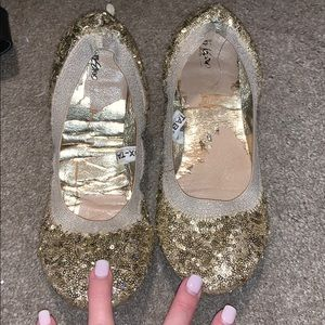 Mossimo glitter sequin gold sparkle flats ballet 9